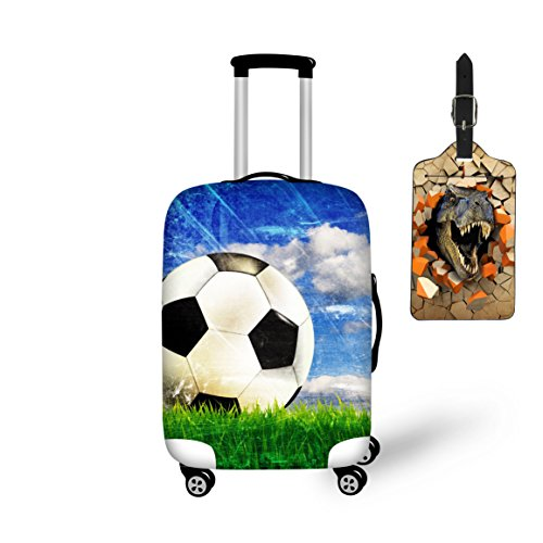 Nopersonality Cool Soccer Print Luggage Protector Cover Stretch Fabric + 3D Dinosaur Animal Print Suitcase ID Label