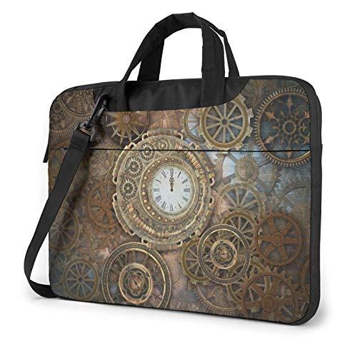 Bolso de Hombro Impreso Reloj Oxidado del Ordenador portátil de Steampunk, maletín del Bolso de Mensajero del Negocio del Bolso de la Caja del Ordenador portátil