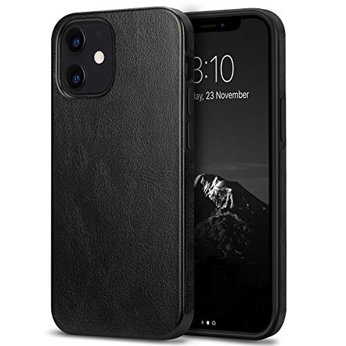 TENDLIN Compatible with iPhone 12 Mini Case Premium Leather TPU Hybrid Case (Black)