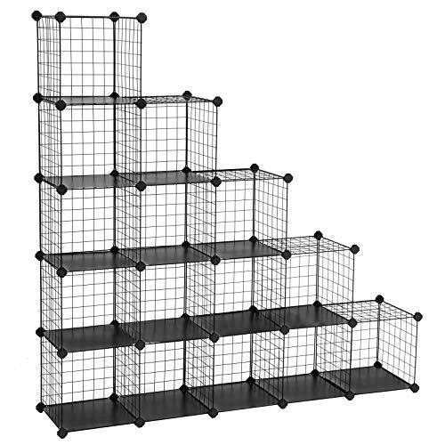 SONGMICS Armario Modular de Alambre metálico con 16 Cubos, Montaje en Bricolaje, Aramario de Almacenamiento, Estantería modulable, Estantería de Malla de Alambre, Negro LPI44H