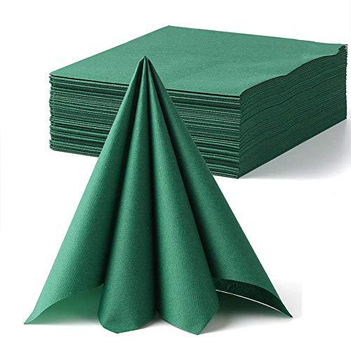 LEKOCH Grön dekoration Engångs gästhandduk linne känsla middagsservettpapper   Air-Laid Servetter papper handdukar för bröllop restaurang kök fester   40 cm x 40 cm paket med 50