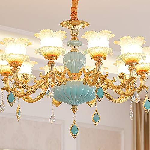 Kroonluchter LED Goud/Blauw Zink Kristal Glas Keramisch Verstelbare 15 Licht Slaapkamer Woonkamer Eetkamer Villa Kroonluchter Hanglamp