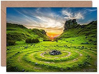 Fine Art Prints Fairy Glen solnedgång himmel Skottland gratulationskort med kuvert inuti premiumkvalitet