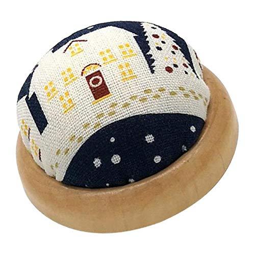 Best Buy! menolana Cotton Fabric/Pin Cushion Wooden Base Pincushion for Tailor's Shop - Blue, 7cm