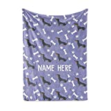 Personalized Custom Dachshund Fleece and Sherpa Throw Blanket for Men Women Kids Babies - Dog Dogs Pet Blankets Perfect for Bedtime Bedding Gift