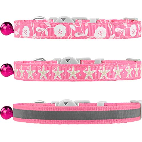 TagME 3er Pack Schnellverschluss Katzenhalsband Gemischtem Muster mit Glocke und Sicherheitsverschluss,Verstellbar 18-25cm, Rosa