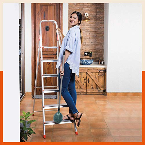 Bathla Advance 6-Step Foldable Aluminium Ladder with Sure-Hinge Technology (Orange)