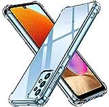 ivoler Funda para Samsung Galaxy A32 4G, Carcasa Protectora Antigolpes Transparente con Cojín Esquina Parachoques, Suave TPU Silicona Caso Delgada Anti-Choques Case