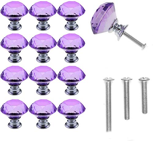 YUYIKES 30mm Diamond Shape Crystal Glass Cabinet Knobs Purple 12 Pack for Drawer, Chest, Bin, Dresser, Cupboard (12 pcs of purple)