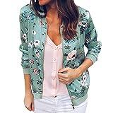 VECDY Damen Jacken,Räumungsverkauf- Damen Retro Blumen Reißverschluss Up Bomber Jacke Casual Mantel Outwear Warme Sportjacke