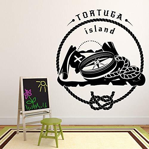 Tianpengyuanshuai Tortuga Island Stickers Muraux Mot Boussole Pirate Carte Aventure Thème Vinyle Autocollant 50X56 cm
