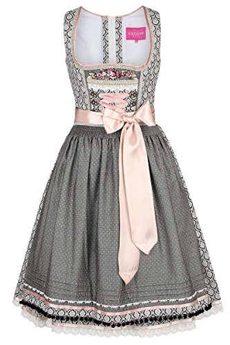 Krüger Madl Damen Dirndl Vintage-Stil schwarz rosa, Schwarz, 34