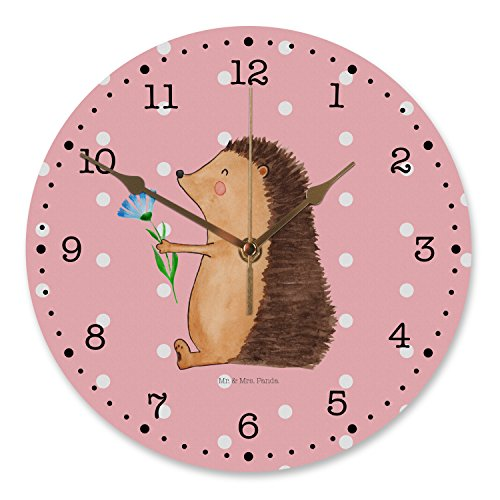 Mr. & Mrs. Panda Uhr, Flüsteruhrwerk, 30 cm Wanduhr Igel mit Blume - Farbe Rot Pastell