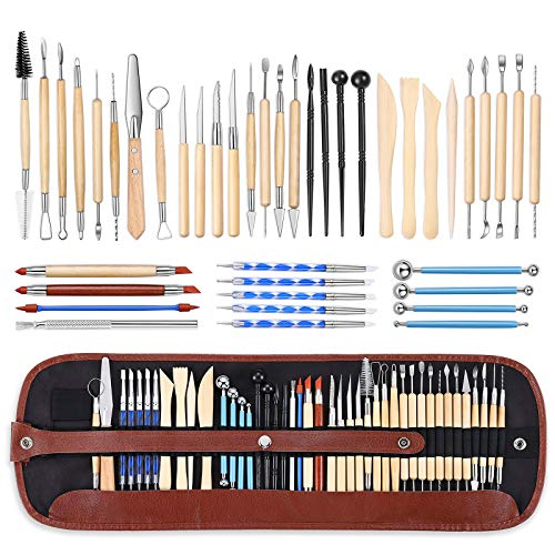 ISSEVE Pottery Clay Sculpting Tools 43Pcs Double Sided Ceramic Clay Carving Tool Set with Carrying Case Bag for Beginners Professionals School Student Pottery Modeling Smoothing