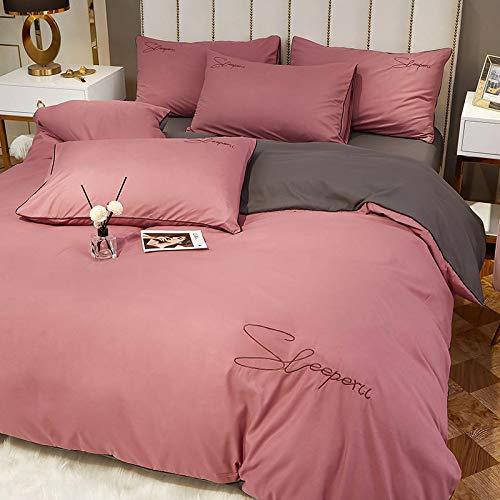 Funda de edredón de sábana de color sólido de algodón puro, funda de edredón de cuatro piezas de algodón lavado cepillado, pasta de frijol para ropa de cama + juego de cuatro piezas gris de 1,8 m