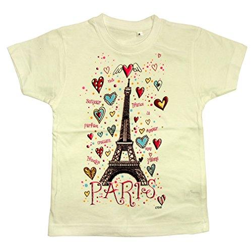 Souvenirs of France - Paris 'Eiffel Tower Hearts' Girls T-Shirt - White 6 Years