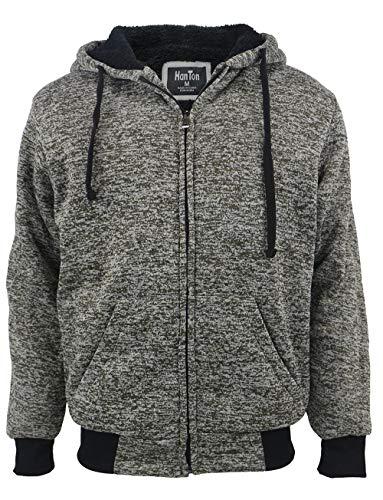 Yasumond 2XL Hoodies for Men Zip Up Heavy Fleece Winter Sherpa Lined Hooded Sweatshirts Olive
