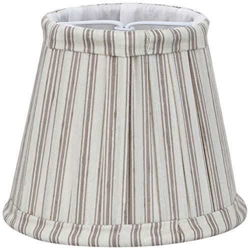 Better & Best 0213129 – écran de lampe de soie, avec pince de fixation pour ampoules type bougie, table étroite, de 12 cm, avec rayures rouges