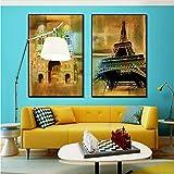 Nordique Rétro Affiche Tour Triomphale Arc Paris Rue Paysage Architectural Toile Peinture Décoration de La Maison Mur Art Picture40x60cmx2 Non Encadrée