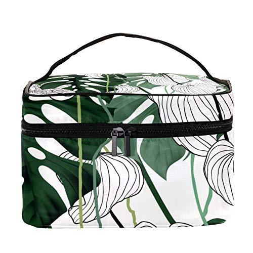 Aninily Trousse de toilette portable multifonction avec poche en maille pour femme Vert/noir/blanc