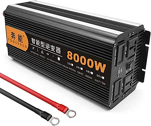 Inversor de energía de onda sinusoidal 4000 W / 8000 W pico CC 12 V / 24 V a CA 220 V 230 V 240 V Convertidor de salidas de CA con puertos USB, pantalla LCD para caravana, barco de camping, 24 V