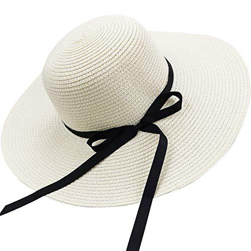 Sun Cappelli Floppy Pieghevole Bowknot Grande Tesa Larga Paglia Cappelli Delle Donne Estate Beach Cap Protezione UV bianco L