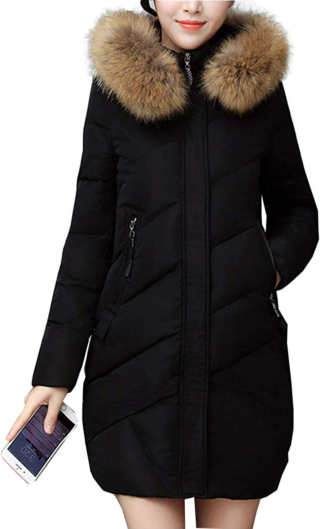 Duyang Women's Winter Casual Down Cotton Quilted Coat Slim Fit Puffer Jackets
