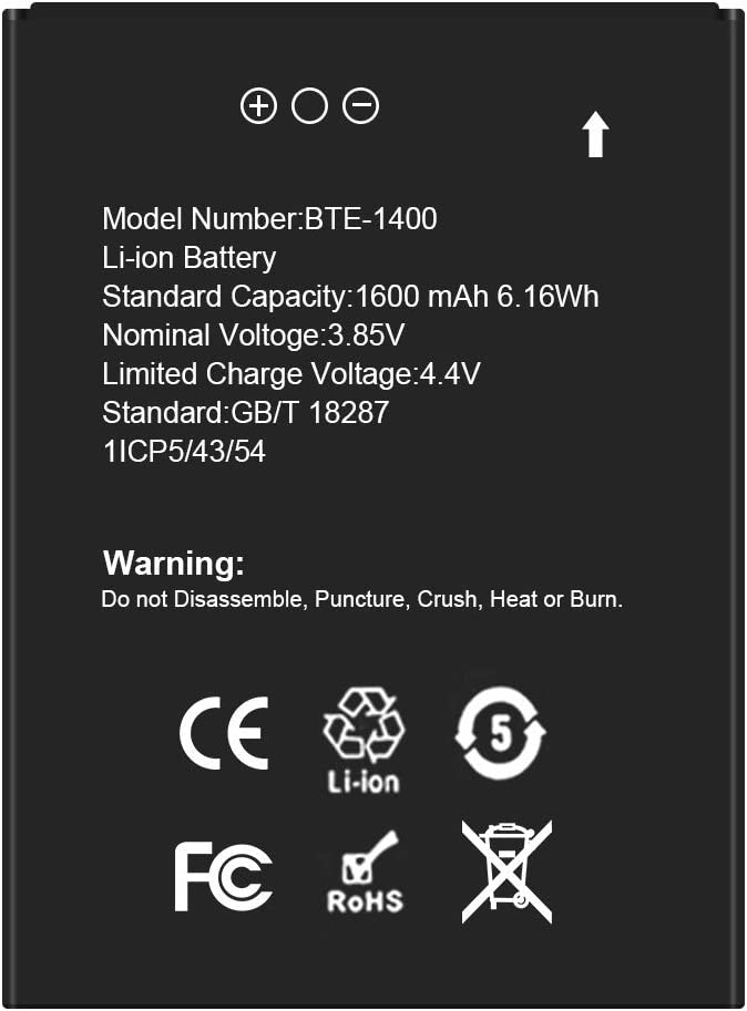 BTE1400 Battery SHENMZ OFFicial Higher 1600mAh Replaceme Fixed price for sale Li-ion Capacity