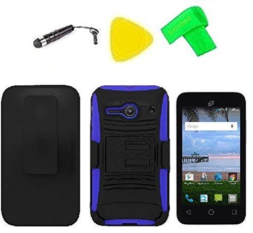 Holster w Hybrid Cover Case + Screen Protector + Extreme Band + Stylus Pen + Pry Tool For Straight Talk Tracfone NET10 Alcatel Prepaid Onetouch Pixi PULSAR LTE A460G (Belt Clip Holster Black/Blue)