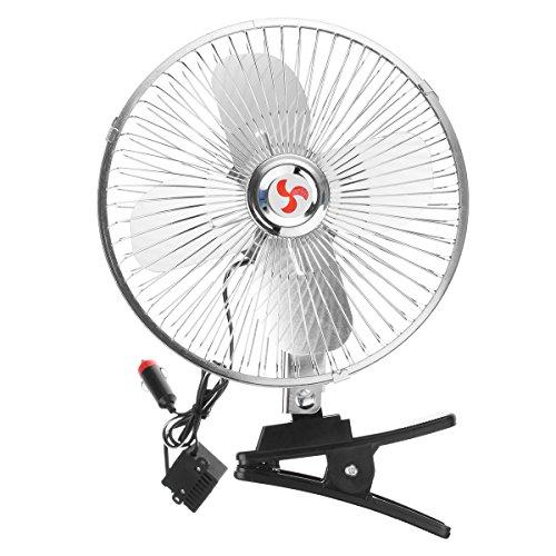 YONGYAO 8 Inch Ventilador Oscilante Eléctrico de 12V Coche con Clip Mesa de Escritorio Enfriador de Enfriamiento de 180 Grados