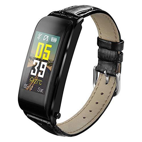 WSFF 2 en 1 Auricular Bluetooth Inteligente Pulsera, con Varios Modos de Pulsera Deportivo, Sleep presión de Soporte del Ritmo cardíaco Sangre Control de Llamadas de Alta definición,Negro