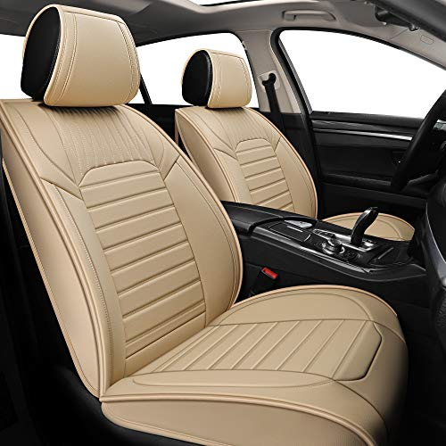 YUHCS 2 PCs Car Seat Covers - Front Seat Faux Leather Non-Slip Vehicle Cushion Cover, Waterproof Car Seat Protectors Automotive Interior Accessories for Most SUV Cars Pickup Truck Beige