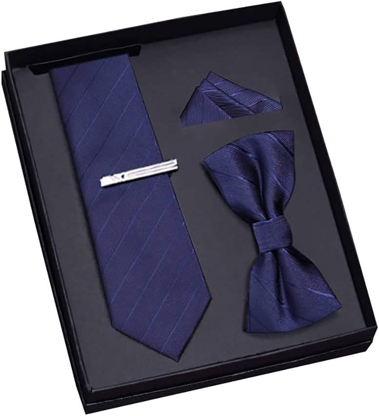 Crafts Pin Formal Neckties Classic Pocket Square Bow Tie and Tie Clip Set Polyester Fiber Woven Wedding Business Decoration (Style : D)