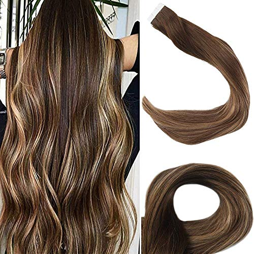 Full Shine Extenciones De Cabello Humano 24 Pulgadas Invisible Tape In Hair Extensions Balayage Color 4 Marrón Fading To 27 Rubia And 14 Highlighted With Color 4 Marrón 50G Adhesive Hair Piece