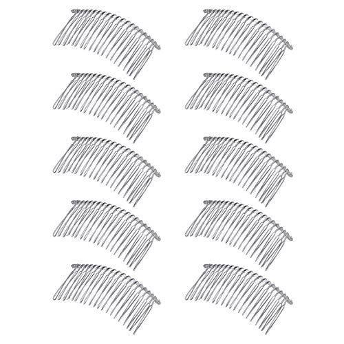 Lurrose Lot de 10 peignes à cheveux en métal avec dents torsadées pour voile - Pour femmes et filles (blanc 20 ct)