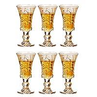 6個のゴブレット刻まれたワイングラス
