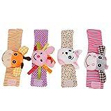4Pcs Baby Handgelenk Rasseln und Fußfinder Cartoon Tiermuster Rassel Handgelenkbänder Spielzeug Lernspielzeug Kleinkinder 0-2 Jahre alt(Tiere)