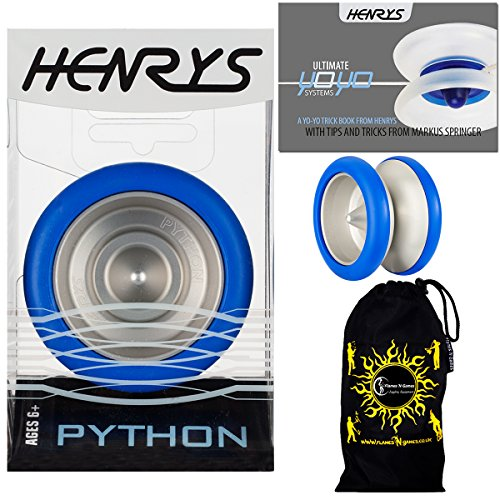 Henrys PYTHON Pro YoYo (Blue) Metal Professional String Trick (1A, 3A, 5A) Bearing YoYo +Instructional Booklet of Tricks & Travel Bag! Top Of The Range YoYo! Pro YoYos For Kids and Adults.