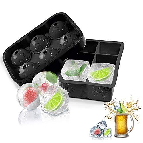 ASANMU Eiswürfelform Silikon, Eiswürfelbehälter 2er Eiswürfelform 45mm Eiskugelform 45mm 6-Fach Eiswürfelformen mit Deckel und Trichter für Gekühltes Getränk, Bier, Whisky, Cocktails, Pudding, Saft