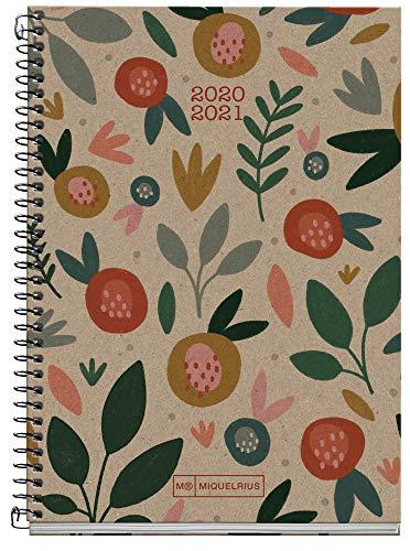 MIQUELRIUS Agenda Escolar 100% Reciclada Activa de Espiral 117x174 mm Día Página 2020-2021 Ecoflower Miquelrius Craft Castellano