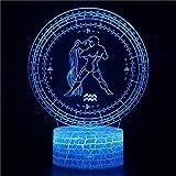 Lámpara 3D Led Luz de Noche para Niños Acuario 16 Colores Botón Táctil Decoración Óptica Mesa Luces de Noche Iluminación Lámpara de Escritorio