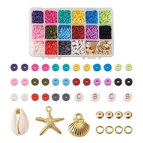 Cheriswelry 6000 Cuentas de arcilla polimérica de disco plano y redondo de 4 mm, kit de cuentas Heishi con concha de oro de estrella de mar y espaciadores de letras para hacer pulseras de joyería