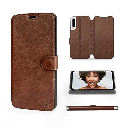 Mobiwear | Echt Lederhülle | Kompatibel mit Xiaomi Mi A3, Made in EU handyhülle, Slim Leather Hülle, Premium Flip Schutzhülle, Transparent TPU Silicon, Book Style, Tasche - Braunes Leder