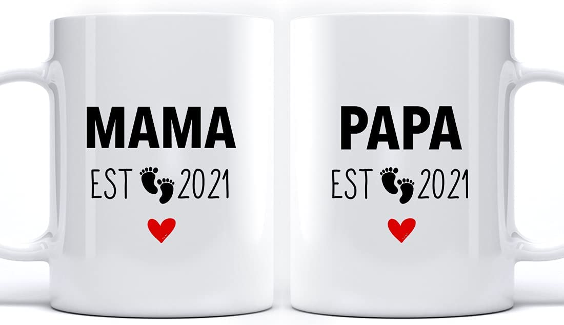 Mama and Papa 2021 Mug Set for Time Luxury goods Parents New mart Pre Couple First
