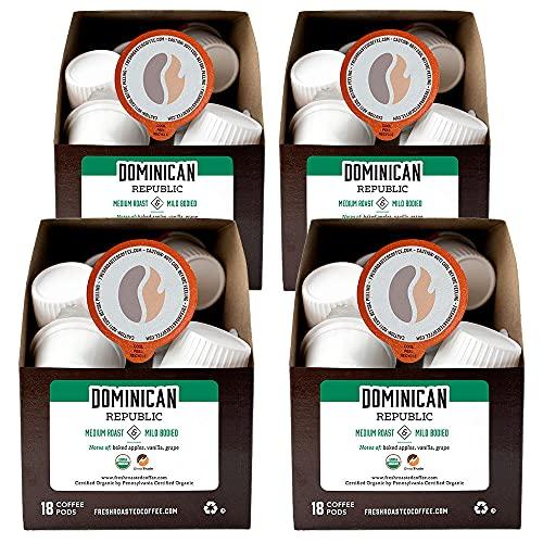 Fresh Roasted Coffee, Organic Dominican Republic, Medium Roast, Kosher, K-Cup Compatible, 72 Pods