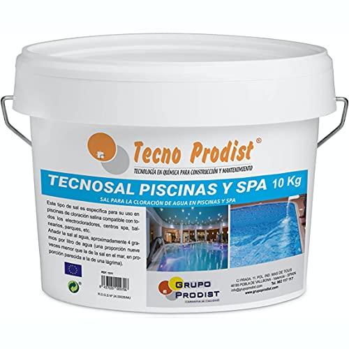Tecno Prodist TECNOSAL Piscinas y SPA 10 kg - Sal Especial para la cloración Salina de Piscinas, SPA y Jacuzzis - En Cubo Fácil Aplicación