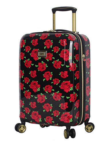 Betsey Johnson Designer 20 Inch Carry On - Expandable (ABS + PC) Hardside Luggage - Lightweight Durable Suitcase With 8-Rolling Spinner Wheels for Women (Covered Roses)