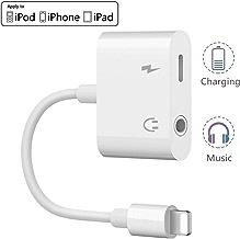Adaptador de Conector para iPhone, 2 en 1 ?Audio + Cargador? 3.5 mm Conector de Auriculares para iPhone X/XS/XS MAX/XR/iPhone 8/8Plus/7/7 Plus/iPad Compatible con el más Nuevo Sistema iOS