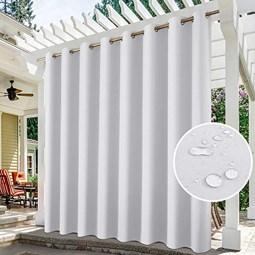 HOMEIDEAS Grau-weiße Outdoor-Vorhänge für Terrasse, wasserdicht, extra breit, 254,4 x 244,8 cm, Verdunklungsvorhänge, thermisch isoliert, für Veranda/Pergola/Hof/Gartenlaube/Pool, 1 Panel