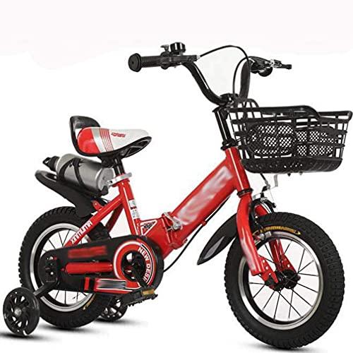 HUAQINEI Aleación de Aluminio Botella de Agua Plegable Bicicleta para niños Cochecito de 12-18 Pulgadas para niños y niñas, Rojo, 12 Pulgadas